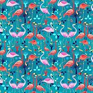 beautiful pattern lovers flamingo by Tanor