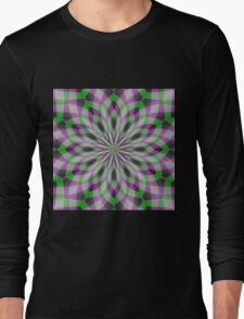 Rosette in Purple, Green and Black Long Sleeve T-Shirt