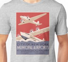 Vintage New York Municipal Airports Poster Unisex T-Shirt