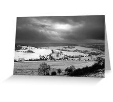 Snowfall in the Cotswold Hills - Standish Park Gloucestershire England Greeting Card