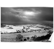 Snowfall in the Cotswold Hills - Standish Park Gloucestershire England Poster