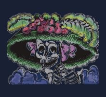 Funny Skeleton with funny hat and flowers Kids Tee