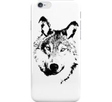black and white, cartoon head of the beast, wolf iPhone Case/Skin