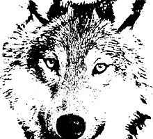 black and white, cartoon head of the beast, wolf by Hujer