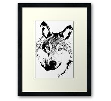 black and white, cartoon head of the beast, wolf Framed Print