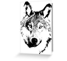black and white, cartoon head of the beast, wolf Greeting Card