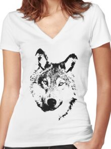 black and white, cartoon head of the beast, wolf Women's Fitted V-Neck T-Shirt