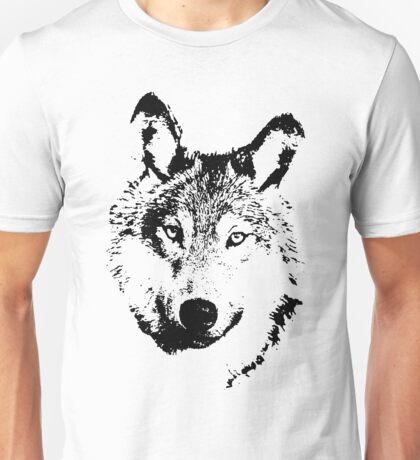 black and white, cartoon head of the beast, wolf Unisex T-Shirt