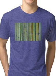 Green bamboo fence background Tri-blend T-Shirt