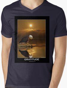 """Gratitude"" Bald Eagle Mens V-Neck T-Shirt"