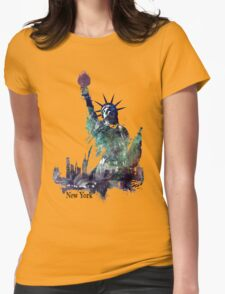 Statue of Liberty green art version Womens Fitted T-Shirt
