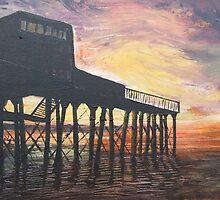 Sunset at Aberystwyth pier. by Caroline Maddison