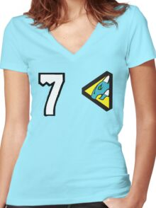 Dino Charge/Kyoryuger Aqua/Cyan Women's Fitted V-Neck T-Shirt
