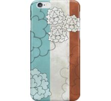 Chinese Flowers & Stripes - Brown Cream Turquoise Blue iPhone Case/Skin