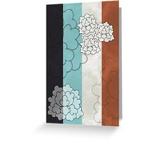 Chinese Flowers & Stripes - Brown Cream Turquoise Blue Greeting Card
