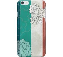 Chinese Flowers & Stripes - Brown Cream Cyan Blue iPhone Case/Skin