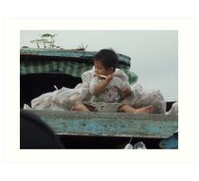 Breakfast at the floating market, Mekong Delta Art Print