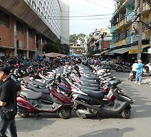 Motorbike parking area, Ben Thanh Market, Ho Chi Minh City by Wendy Giles
