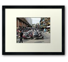 Motorbike parking area, Ben Thanh Market, Ho Chi Minh City Framed Print