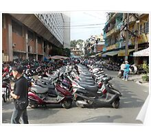 Motorbike parking area, Ben Thanh Market, Ho Chi Minh City Poster