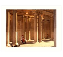 Cellist in the Louvre forecourt, late afternoon Art Print