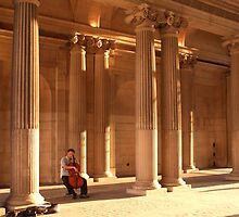 Cellist in the Louvre forecourt, late afternoon by Wendy Giles