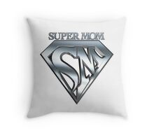 Super Mom Emblem Throw Pillow