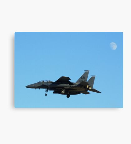 "F-15 Strike Eagle landing ""under"" the moon Canvas Print"