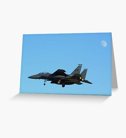 "F-15 Strike Eagle landing ""under"" the moon Greeting Card"