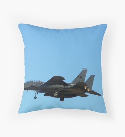 "F-15 Strike Eagle landing ""under"" the moon Throw Pillow"