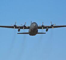 C-130 Hercules leaving Nellis Air Force Base by Henry Plumley