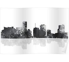 Miami, Florida Skyline - Black and White Poster