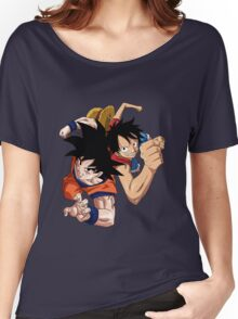 one piece dragon ball z goku luffy crossover anime manga shirt Women's Relaxed Fit T-Shirt