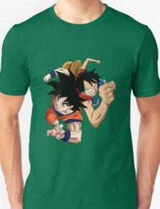 one piece dragon ball z goku luffy crossover anime manga shirt T-Shirt
