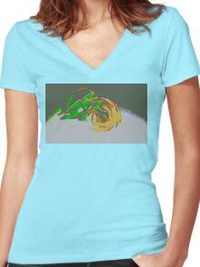 """Minimalistic Pokemon - Mega Rayquaza "" by limitedskins.com Women's Fitted V-Neck T-Shirt"