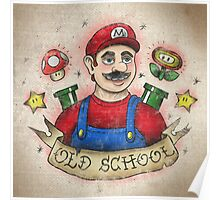 Old School Mario Tattoo Poster