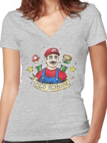 Old School Mario Tattoo Women's Fitted V-Neck T-Shirt