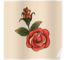 old school tattoo rose Poster