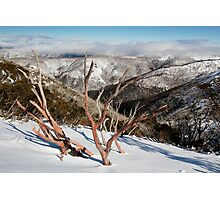 Snow on the mountainside Photographic Print