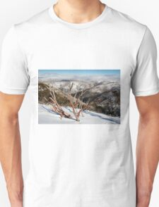 Snow on the mountainside Unisex T-Shirt