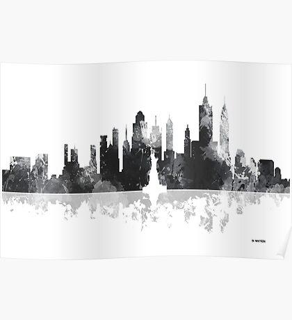 New York, NY Skyline - Black and White Poster
