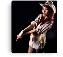 Cowgirl...put your guns in the ground.. Canvas Print