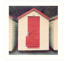Red and White Beach Hut Art Print