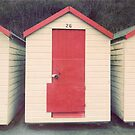 Red and White Beach Hut by eyeshoot