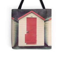 Red and White Beach Hut Tote Bag