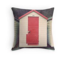 Red and White Beach Hut Throw Pillow