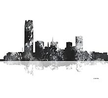 Oklahoma City, Oklahoma Skyline - Black and White Photographic Print