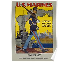 Vintage US Marines Poster Poster