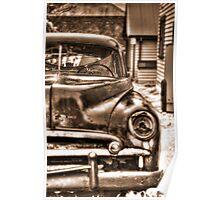 old junk car sepia HDR Poster