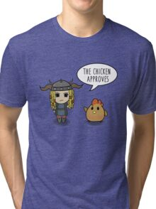 """""""The Chicken Approves"""" HTTYD Race to the Edge Tri-blend T-Shirt"""
